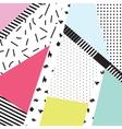 Memphis color blocks and dash elements backdrop vector image