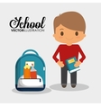 cartoon school boy with book and bag utensils vector image
