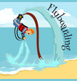 fly board water extreme sports isolated design vector image