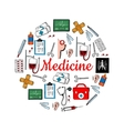 Medicine and medical check up sketch icons vector image