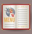 menu elite restaurant chef cook serving food 3d vector image