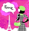Stylish background with woman silhouette in France vector image