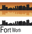 Fort Worth skyline in orange background vector image vector image