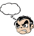 angry boy head with thought bubble vector image vector image