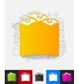bat paper sticker with hand drawn elements vector image
