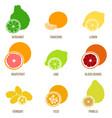 citrus fruits flat set whole fruits and vector image