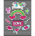 Fashion patch badges with unicorns heart lips vector image