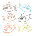 Fish Outline Set Isolated on White Background vector image