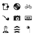 Subculture hipsters icons set simple style vector image