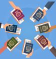 hands holding passport ticket boarding pass travel vector image