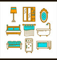 furniture colorful set for domestic usage isolated vector image