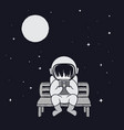 spaceman sits on bench vector image vector image