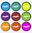 bat icon sign Nine multi colored round buttons vector image