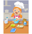 Cartoon little girl holding batter cake vector image