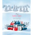 Holiday Christmas background with gift boxes and vector image