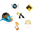 collection of music icons and elements vector image vector image