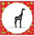 black 8-bit silhouette giraffe standing vector image
