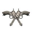 Crossed pistols Vintage gun pistol vector image