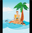 Man relax time in island vector image