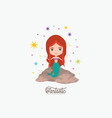 mermaid fantastic character in a rock with vector image