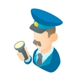 Museum security guard icon cartoon style vector image