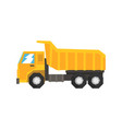 yellow dump truck heavy industrial machinery vector image