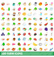 100 farm icons set isometric 3d style vector image
