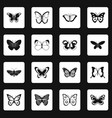 butterfly icons set squares vector image