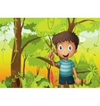 A forest with a young boy wearing a stripe tshirt vector image