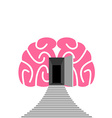 Open door and step of human brain Entrance into vector image