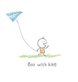 boy with kite vector image vector image