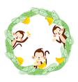 Monkey And Banana On Circle Frame vector image
