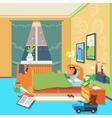 Boy sleep in children room vector image