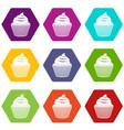 cupcake icon set color hexahedron vector image