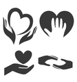 Heart in hand symbol sign icon logo template vector image