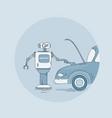 modern robot repair car icon futuristic vector image