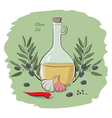 olive oil on the vegetables vector image