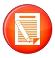 Paper and pencil icon flat style vector image