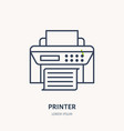 printer with paper page flat line icon wireless vector image