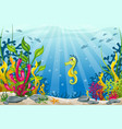 underwater landscape with seahorse vector image