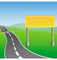 road sign and green landscape vector image vector image