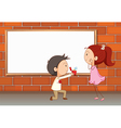 A marriage proposal near the empty board vector image