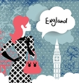 Stylish back with woman silhouette in England vector image