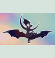 sexy witch girl flyng on a bat over the moon vector image