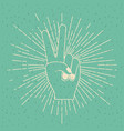 color background with silhouette peace hand vector image