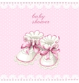 Pink booties baby shower card vector image
