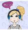 Girl listening to the music vector image vector image