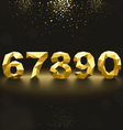 Golden Lowpoly Numbers from 6 to 0 vector image vector image