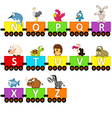 alphabet train animals from N to Z vector image
