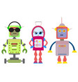 set of funny cartoon robots art vector image